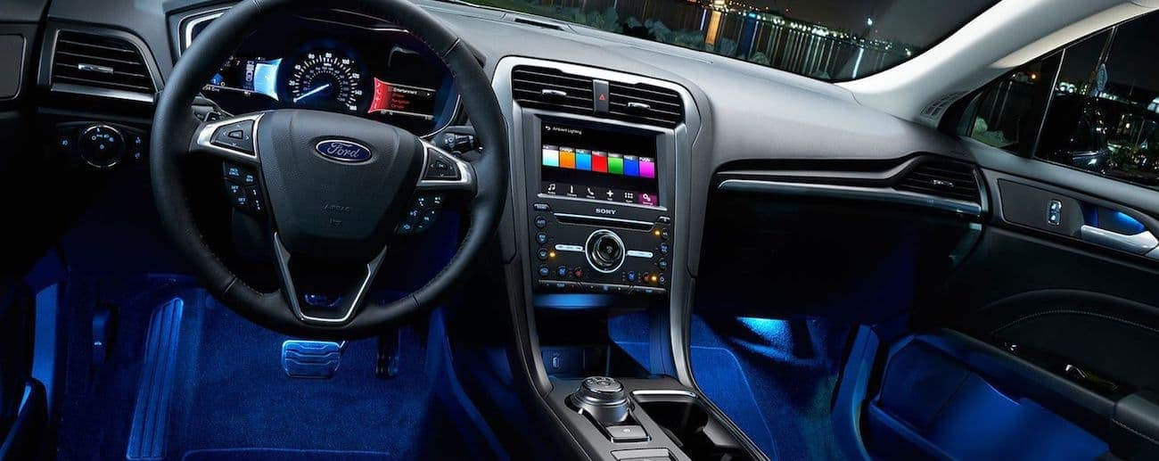 the high tech black interior of the 2019 Ford Fusion
