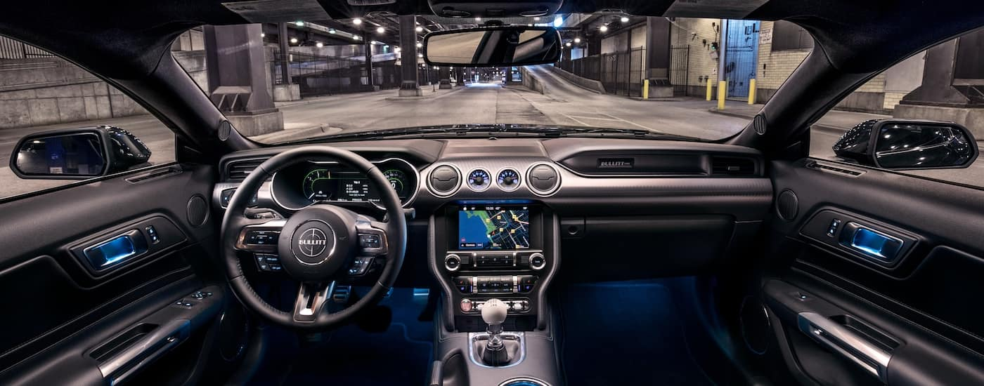 The high tech black interior of the 2019 Ford Mustang