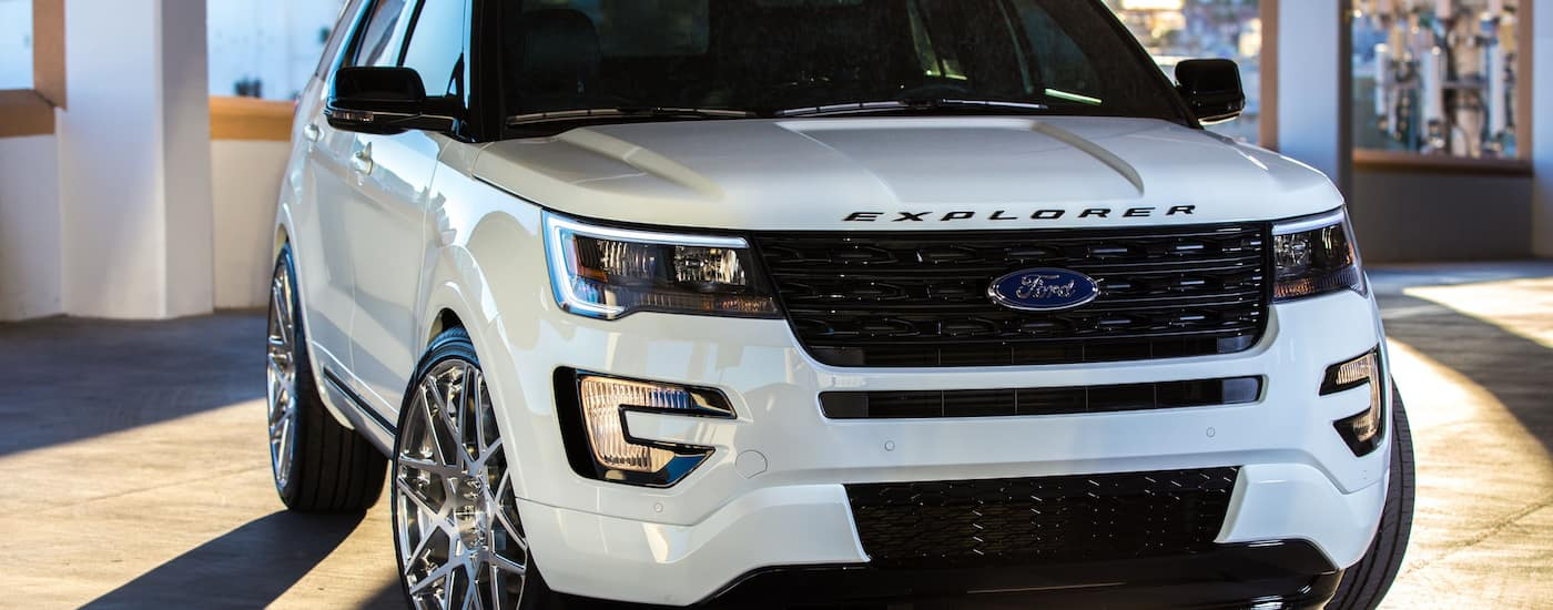 White 2019 Ford Expedition XLT parked in garage