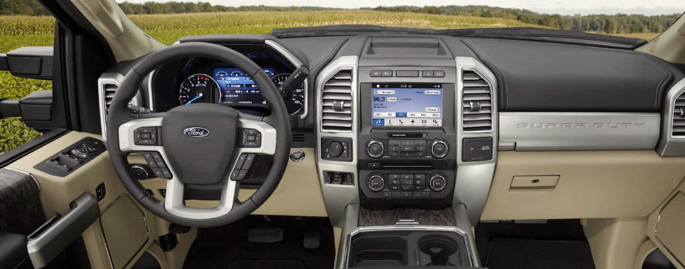 Black and tan interior of a 2019 Ford F-25
