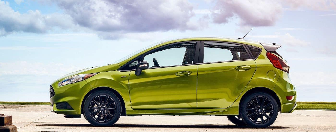 Green 2019 Ford Fiesta in desert