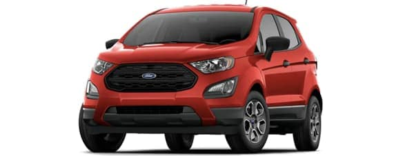 A red 2019 EcoSport facing left on white