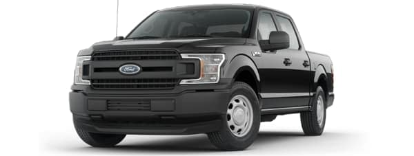 A black 2019 Ford F150 facing left on white