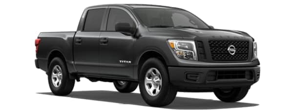 A gray 2019 Nissan Titan facing right on white