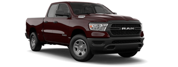 A red 2019 Ram 1500 in a shootout between the the 2019 Ford F-150 vs the 2019 Ram 1500