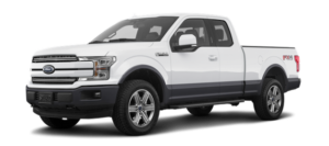 A white 2019 Ford F-150 in a comparison between the 2019 Ford F-150 vs 2019 Ram 1500