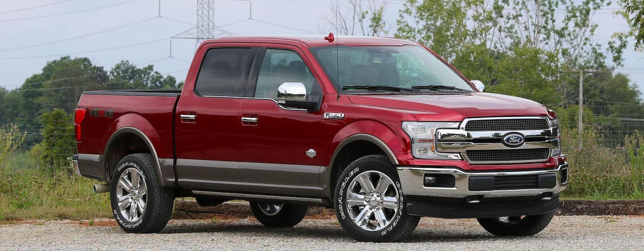 A red 2019 Ford F150 king ranch