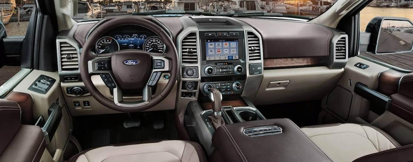 A the high tech leather interior of the 2019 Ford F-150
