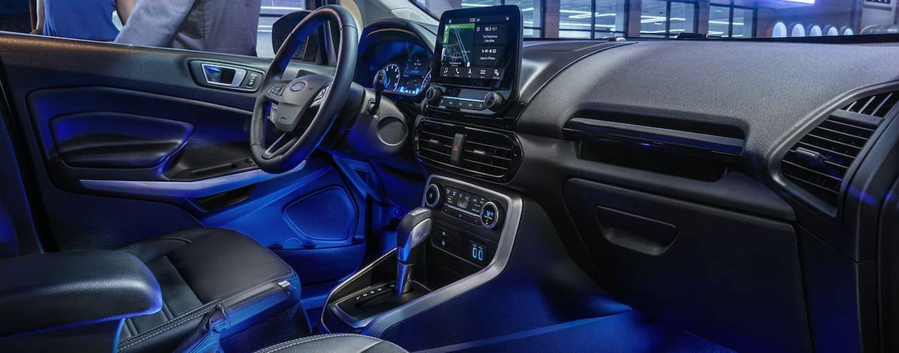 Ambient blue lighting inside the 2019 Ford EcoSport