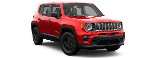 A red 2019 Jeep Renegade facing right on white
