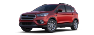 A left facing angled side view of a red 2019 Ford Escape is shown.