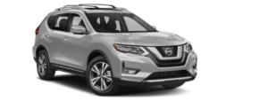 A 2019 silver Nissan Rogue is shown right facing from a front-side angle.