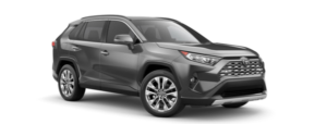 A grey 2019 Toyota RAV4 is facing right.