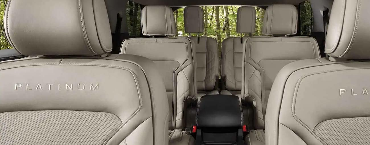 The white interior of a 2019 Ford Explorer Platinum edition is shown. Check out interior when comparing the 2019 Ford Explorer vs 2019 Toyota Highlander in Cincinnati, OH.