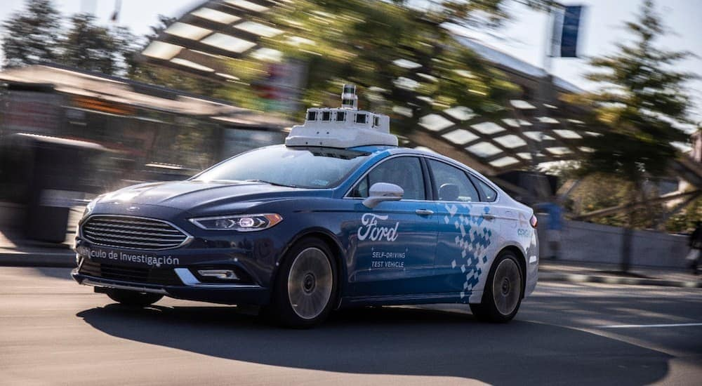 A test drive of an autonomous Ford sedan in DC is shown.