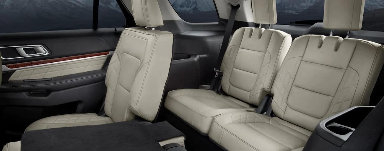 The white interior of the 2019 Ford Explorer Platinum is shown with two seats folded down. Check out the interior when comparing the 2019 Ford Explorer vs 2019 GMC Acadia in Cincinnati, OH.