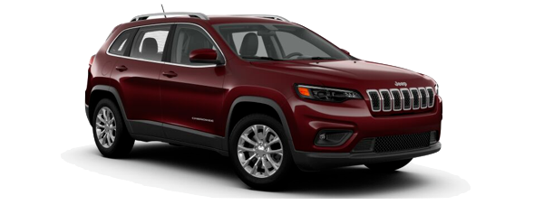 A burgundy 2019 Jeep Cherokee is facing right.