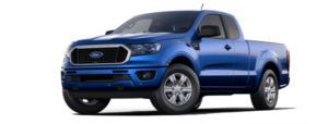A blue 2019 Ford Ranger is facing left.