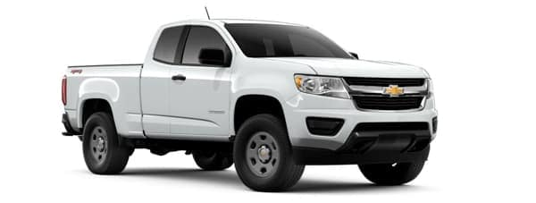 A white 2019 Chevy Colorado is facing right.