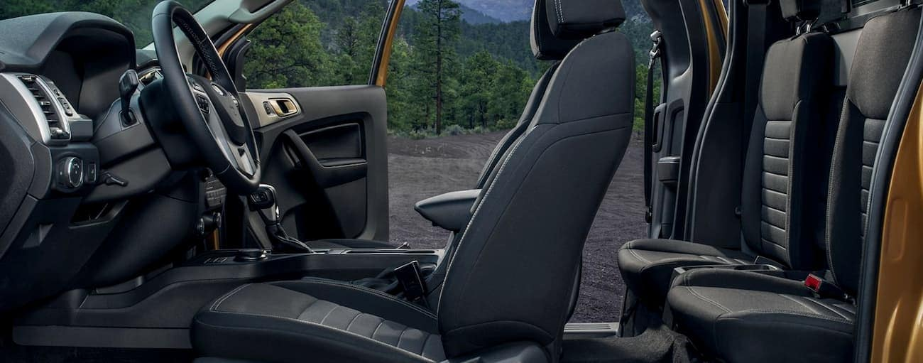 The interior of the 2019 Ford Ranger is shown with all the doors open while it is parked outside Cincinnati, OH.