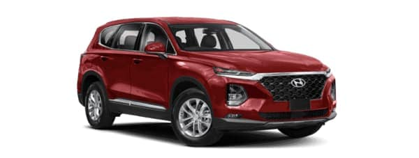 A red 2019 Hyundai Santa Fe is facing right.