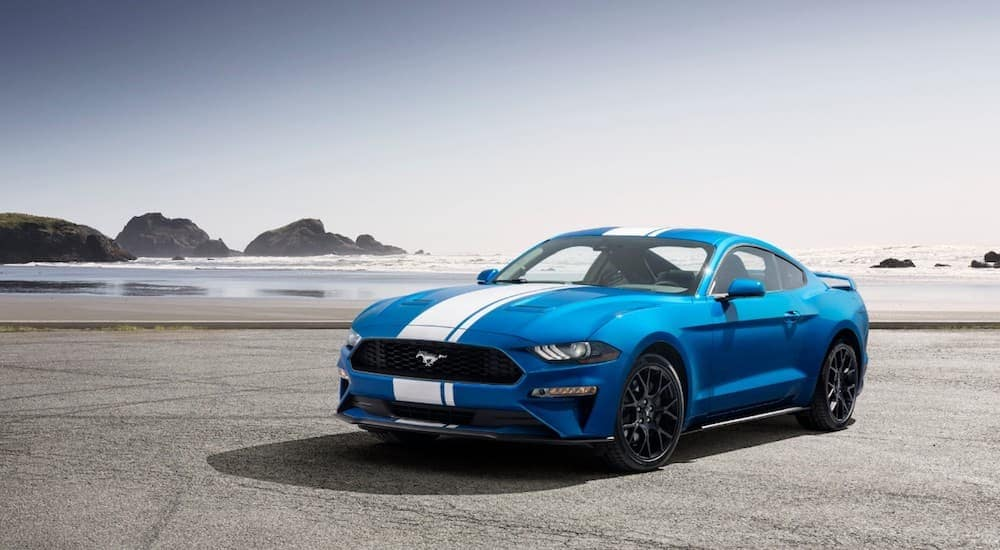 A blue 2019 Ford Mustang with white racing stripes is parked in front of a beach.