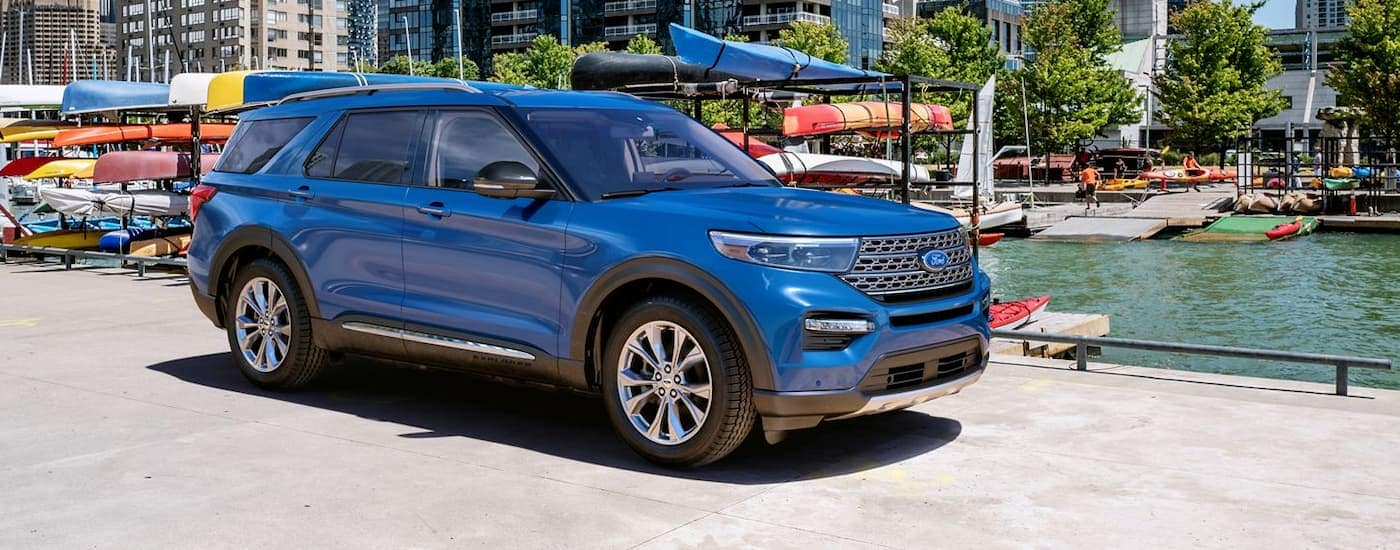 A blue 2020 Ford explorer, one of the upcoming Ford models, is at a city boat launch near Cincinnati, OH.