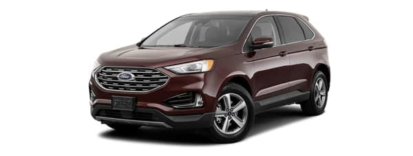 A burgundy 2019 Ford Edge is facing left.