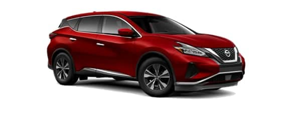 A red 2019 Nissan Murano is facing right.