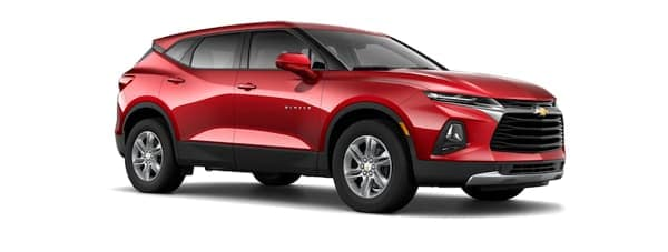 A red 2019 Chevy Blazer is facing right.
