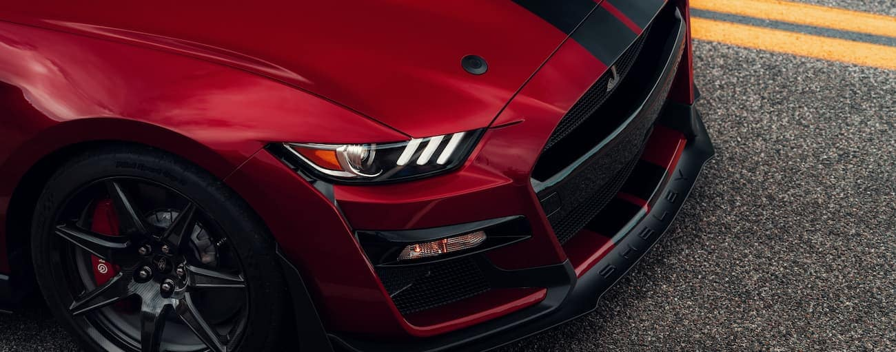 The front end of a red 2020 Shelby GT500 is shown.