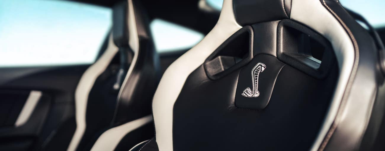 The black and white seats in a 2020 Shelby GT500 are shown.