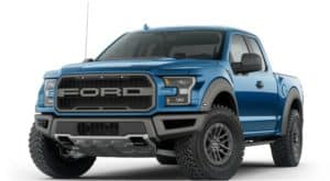 A blue 2019 Ford Raptor is facing left.