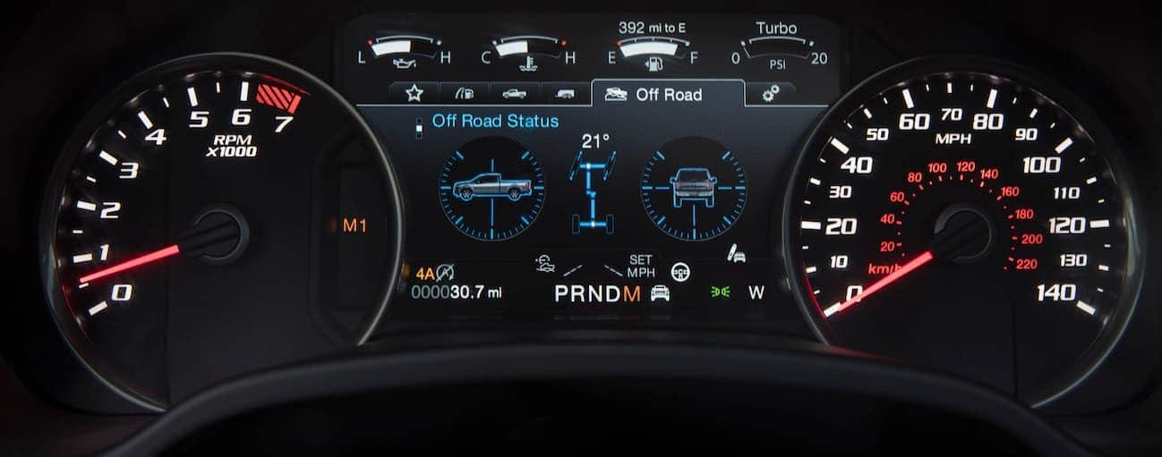 A close up of the sport gauges inside a 2019 Ford Raptor.