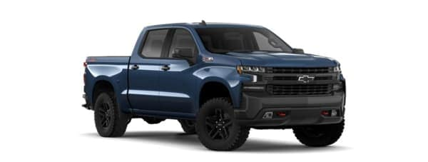 A blue 2019 Chevy Trail Boss is facing right.