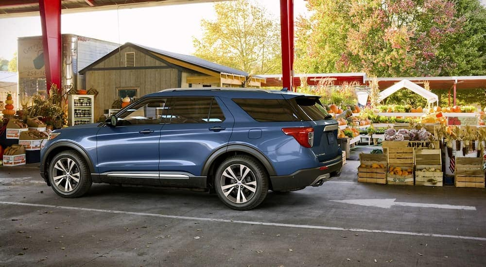 A blue 2020 Ford Explorer is at a fall farmers market after leaving Kings Automall in Cincinnati, OH.