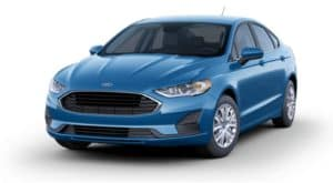 A blue 2020 Ford Fusion is facing left.