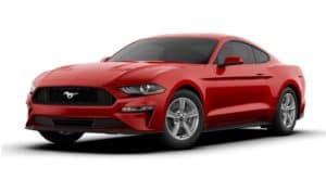 A red 2020 Ford Mustang is facing left.