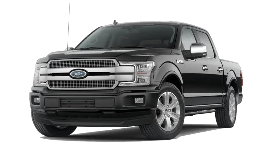 A black 2020 Ford F-150 is facing left.