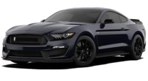 A black 2020 Ford Mustang Shelby GT350 is facing left.