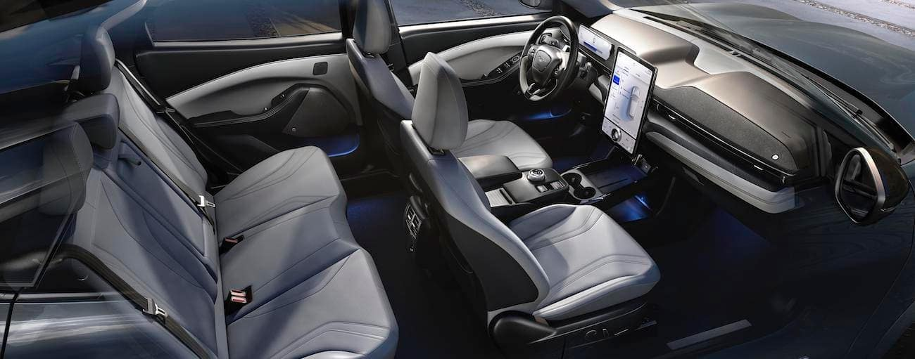 The interior of the 2021 Ford Mustang Mach-E is shown.