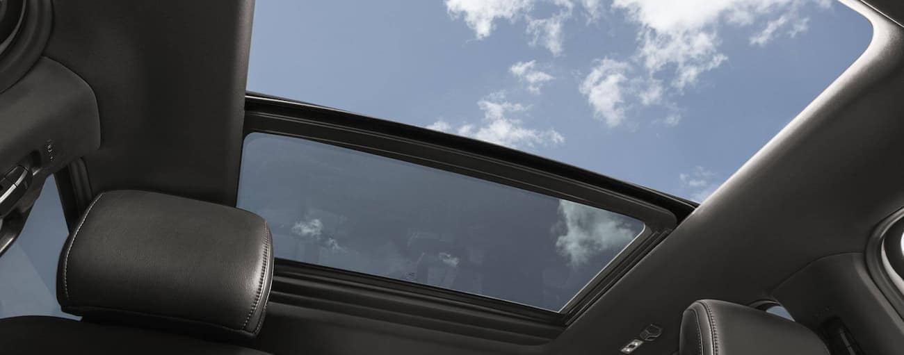 The double moon roof inside of a 2020 Ford F-150 is shown.