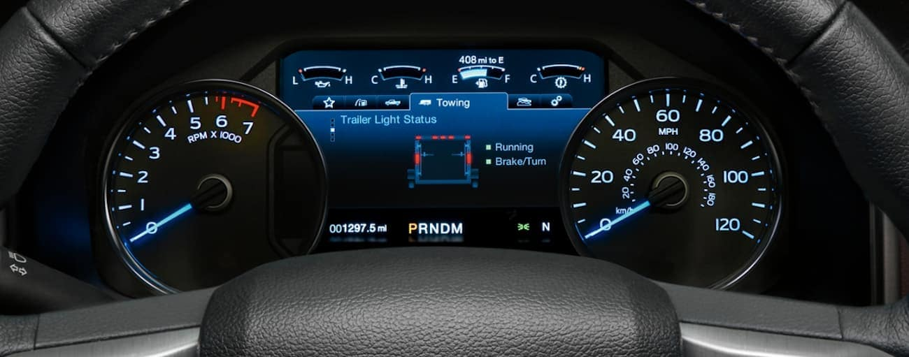 The driver display is shown on the 2020 Ford F-150.