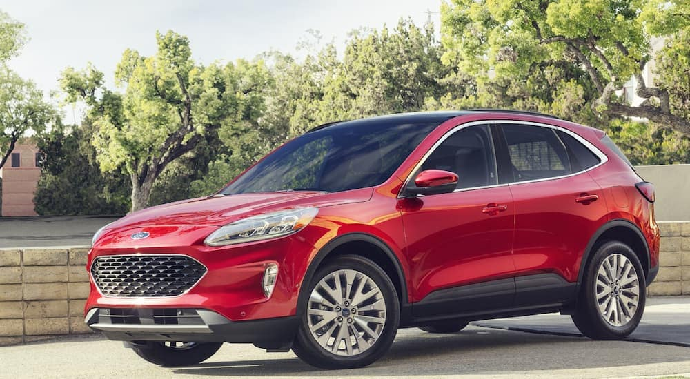A red 2020 Ford Escape Hybrid, which is a popular option among Ford SUVs, is parked in a driveway.