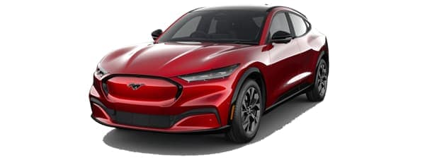 A red 2021 Ford Mustang Mach-E is facing left.
