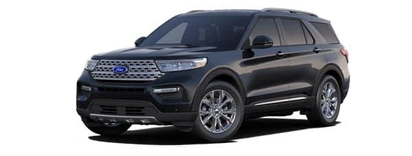 A black 2020 Ford Explorer is facing left.