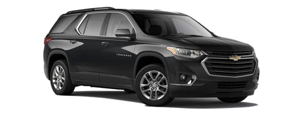 A black 2020 Chevy Traverse is facing right.