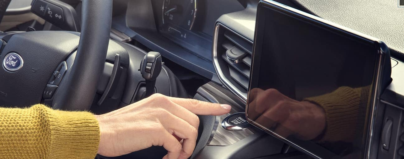 A close up of the infotainment system inside the 2020 Ford Explorer is shown.