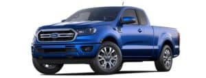A blue 2020 Ford Ranger is facing left.