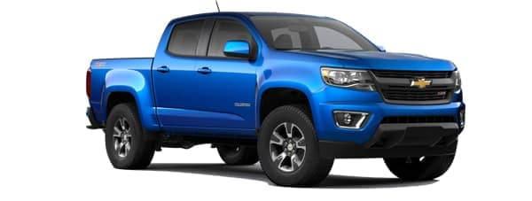A blue 2020 Chevy Colorado is facing right.